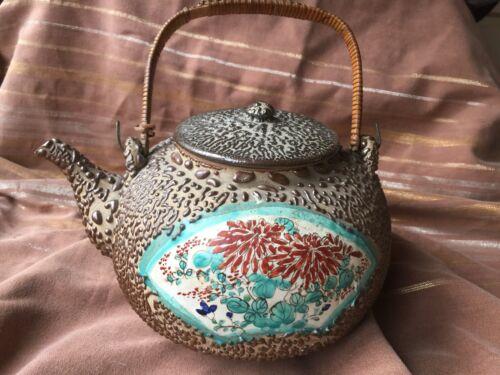 Meiji Era Japanese Teapot Jakatsu or Wormy Glaze w Satsuma Panel Chrysanthemums