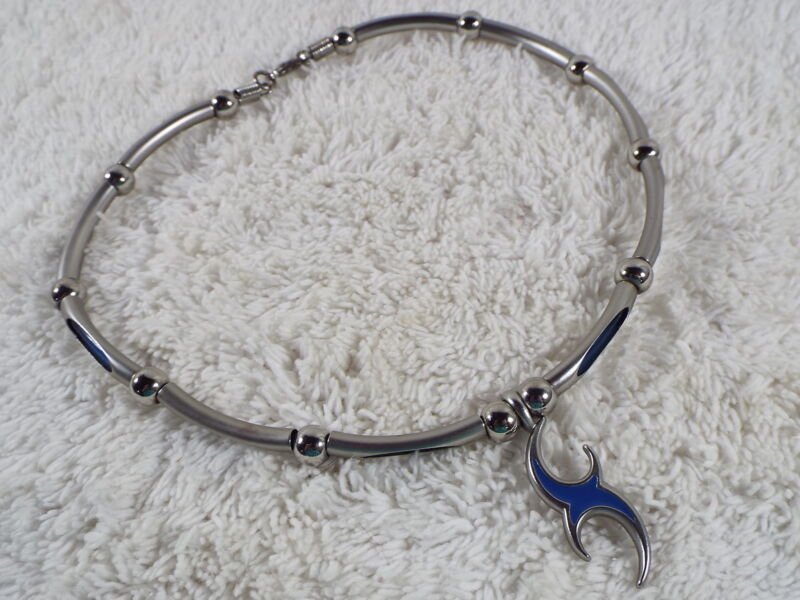 Silvertone Blue Abstract Goth Punk Necklace (A54)