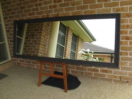 Large Rustic Full Length Mirror Ornate Charcoal Frame 199x73cm