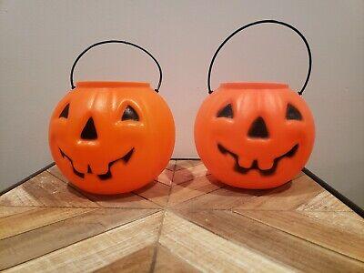 Lot Of 4 Vintage Blow Mold Jack O'Lantern Candy Buckets Pumpkin Treat Pails