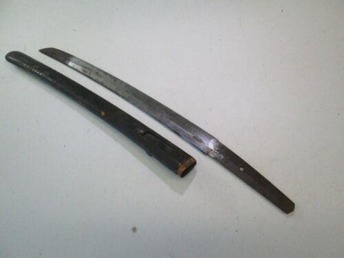 OLD JAPANESE SAMURAI wakisashi SWORD AND SCABBARD SIGNED TAMEIYE WIDE BLADE