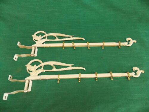 Pair Vtg swing arm adjustable curtain rod mounting brackets clips. Ornate. Lot A
