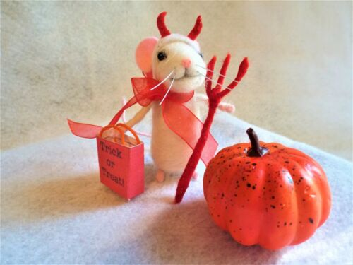 Needle Felted Mouse, Needle Felted Devil Halloween Costume