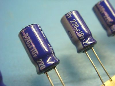 20 Nichicon Uvx1a221mea 220uf 10v 85 Radial Electrolytic Capacitor New Usa