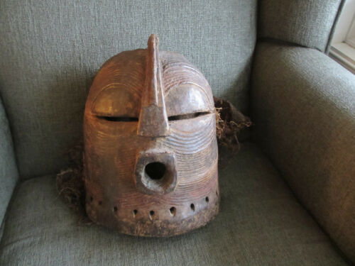 VINTAGE  AUTHENTIC CARVED AFRICAN MASK SONGYE/LUBA STYLE KIFWEBE TRIBAL AFRICA