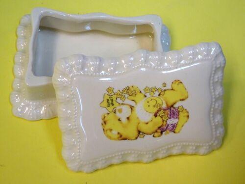 Vintage RARE 1983 Care bears Funshine Bear Ceramic Trinket Box* Hard to FIND