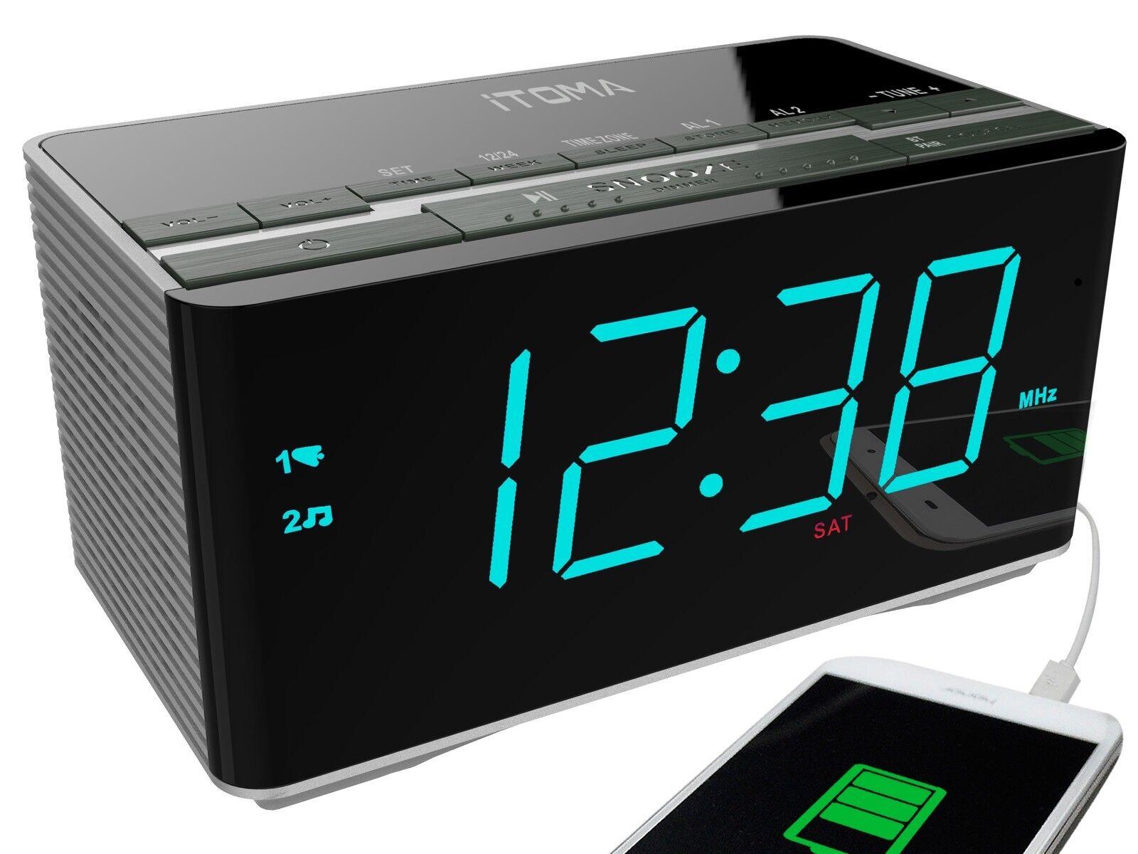 iTOMA Alarm Clock, FM Radio, Bluetooth, Dual Alarm, Cell Pho