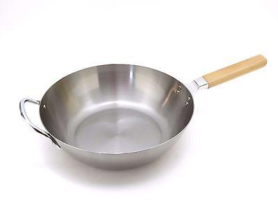 ENZO Wok Saucepan Frypan Frying-pan 28cm Iron Made in Japan Wood Handle