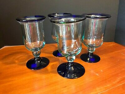 FOUR ~ HAND BLOWN MEXICAN RECYCLED GLASS WINE GOBLETS ~ COBALT BLUE RIM & BASE  - Blue Wine Glasses Wholesale