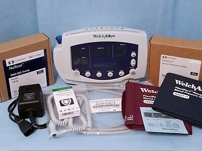 Welch Allyn 53nto Vital Signs Monitor-nibp-nellcor Spo2-temp New Sensors 53nt0