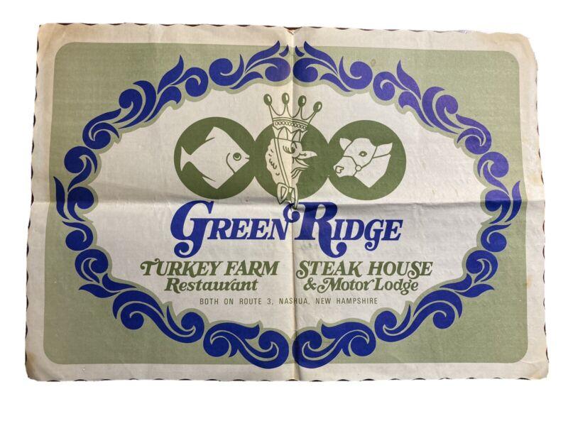 Green Ridge Turkey Farm Steak House Nashua NH Vtg Placemat and Napkin Ephemera