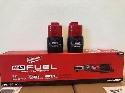 Milwaukee 2557 20 M12 Fuel 12V Li Ion 3 8  Ratchet    2  2 0Ah Batteries