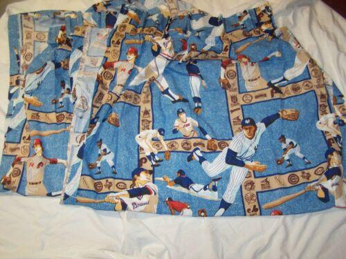 Vintage MLB Baseball Set of 4 Curtains Sears Perma Prest Mancave or Kids 24 x 58