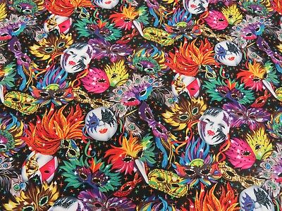100% Cotton Fabric Masquerade Mask Masked Ball Carnival Feathers 135cm Wide - Cotton Ball Halloween Crafts