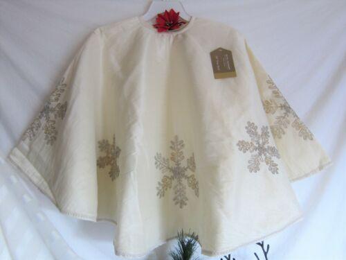 "Glitz & Glimmer Ivory Shimmery Shantung Tree Skirt Gold Beaded Snowflakes 54"""