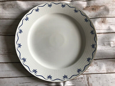 "Marbacka Rorstrand Chop Plate 13"" Blue Flowers Ribbon On Embossed Rim Sweden Big"