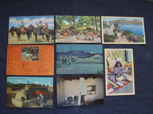 8 vintage Native American Indian postcards / post cards - Apache Pueblo Shoshone