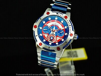 Invicta 39mm Marvel Bolt ENDGAME CAPTAIN AMERICA LE Red & Blue SS Bracelet Watch