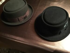 Hats -  2 Pork Pie hats brown and black