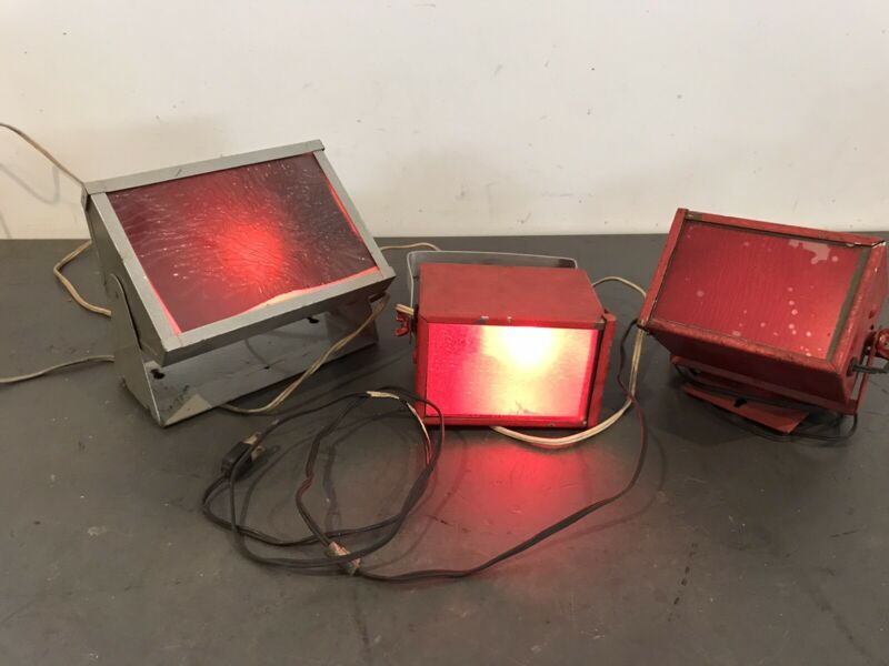 Lot Of 3 Utility Darkroom Safelight Lamps Working As Found Condition Vintage