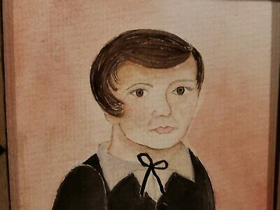 FoLk ArT Original Watercolor Portrait 1800 s School Boy Early Look Colonial Home - $49.90
