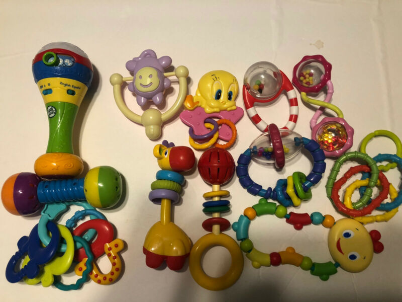 Lot of 12 Baby Rattles and Toys, Vetch Developmental, Bright Stars + More.