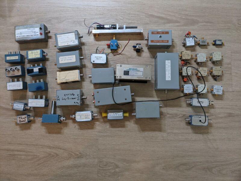 Lot of 41 RF Chebyshev Notch Bandpass filters amplifiers isolators tuner SMA BNC