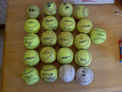 LOT OF 21 USED ASSORTED BRANDS/COLORS SOFTBALLS