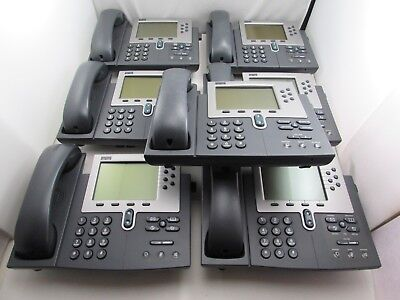 Lot Of 6 Cisco Cp-7940g Unified Ip Phone Voip Telephone Coil Cord Handset
