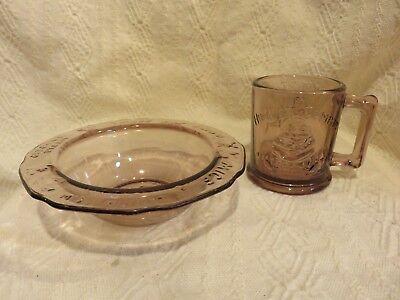 Vintage Tiara Indiana Glass Nursery Rhyme Children's Dishes