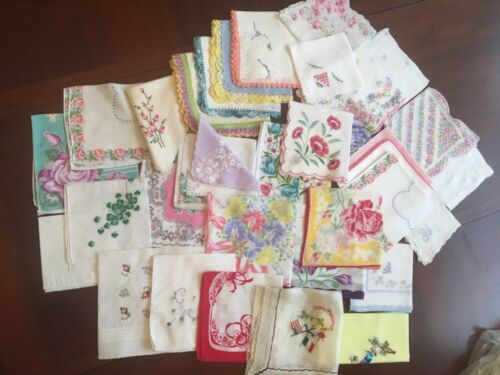 LOT of 33 Mixed Floral Prints Assorted Hankies Vintage Handkerchiefs Crocheted