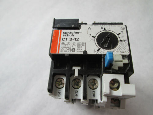 Sprecher + Schuh CT 3-12 Overload Relay (6 to 9.5 Amp) CT3-12