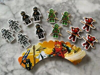 LEGO Ninjago Cupcake Toppers and Wrappers Set of 12 Kids Birthday Party Supplies