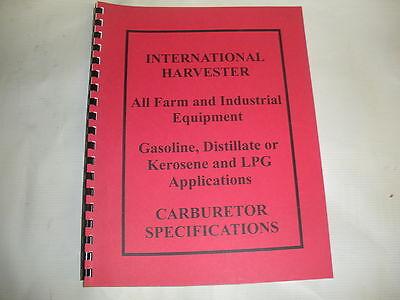 International Harvester Carburetor Specifications Manual New Free Shipping
