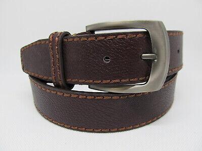 "Men Dark Brown Leather Belt with Smoke Buckle L 38 - 40"" #1647"