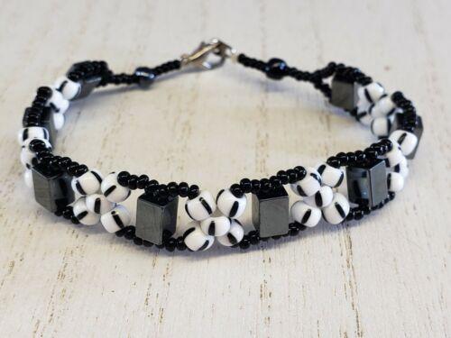 Hematite Milk Glass Seed Bead Black White Flower Bracelet