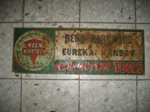 VINTAGE  KEEN  KUTTER TOOLS  STORE  TIN  SIGN