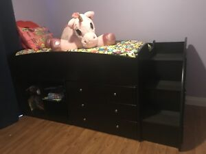 Loft bed with book case and dresser