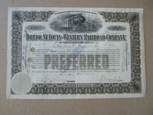 Old 1914 - Toledo St. Louis and Western RAILROAD - Stock Certificate - Indiana