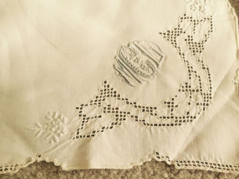 Antique Set 3 Napkins White Linen Vintage Blue Monogramed Embroidered Filet Lace