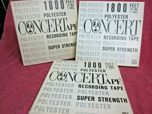 """3 Reels CONCERTAPE Recording Tape 1800 Ft 7""""  to open reel"""