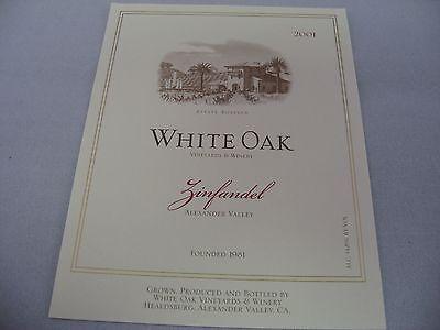 Wine Label: WHITE OAK 2001 Zinfandel Alexander Valley California ()