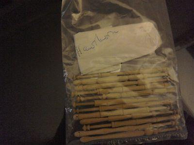 12 (Twelve) Vintage Hawthorn Wood Lace Bobbins - Hand Turned