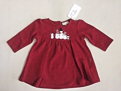 NEW Le Top Baby Girl 3 Month Red Holiday Christmas Snowman Knit Dress