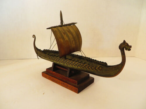 "Rare Vintage Bronze Viking Dragon Ship Replica of the ""Hugin"" - Aagaard, Danish"