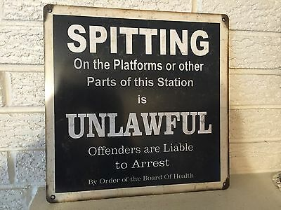 """""""Spitting on The Platforms Unlawful"""" Train Station 12""""x 12"""" Aluminum Sign New DL"""