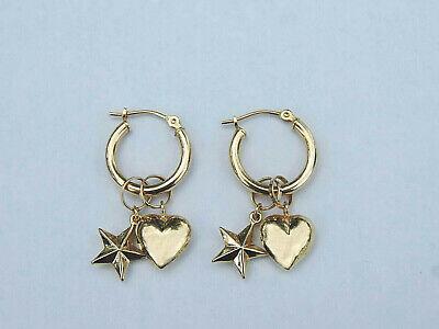 Ladies Heart/Star Design Mirror Finish Hoop Dangle Earrings - 14k Yellow Gold