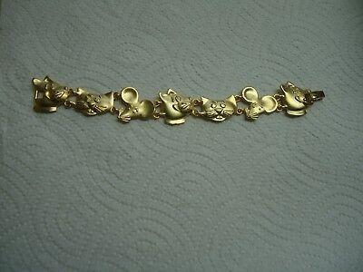 AJC vintage gold tone Cat & Mouse - Tom/Jerry bracelet (Tom & Jerry Costumes)