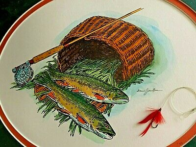 Vintage & Unique RAINBOW TROUT & Real Red Bug Fly Lure in FRAMED ART  sj17j