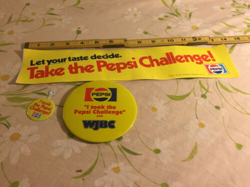 Set of Take the Pepsi Challenge! Bumper Sticker and 2 Button Lot
